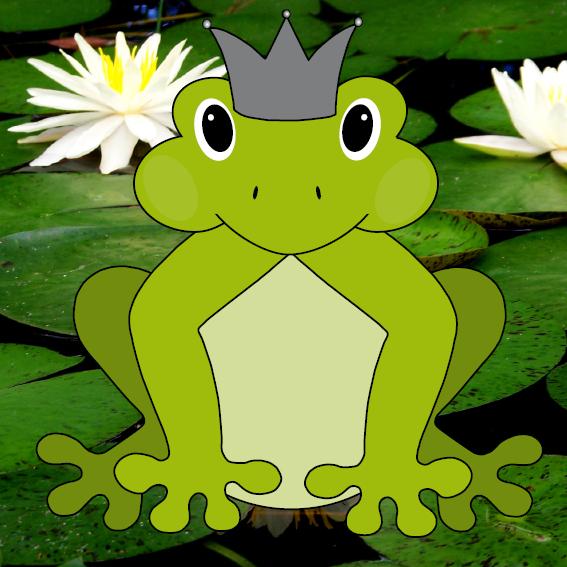 Kikker met kroon foto waterlelies