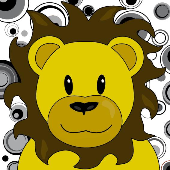 Leeuw Barry zwart-wit cirkels