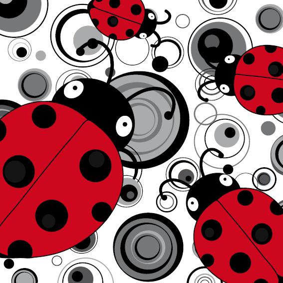 Lieveheersbeestje Sophie 4 keer zwart-wit cirkels