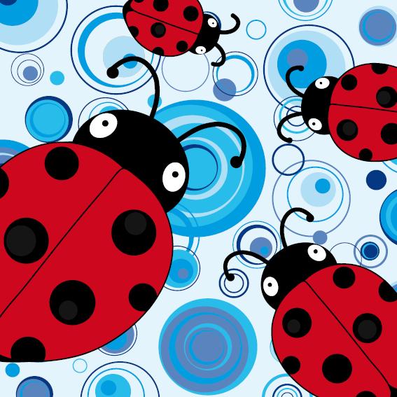 Lieveheersbeestje Sophie 4 keer blauwe cirkels