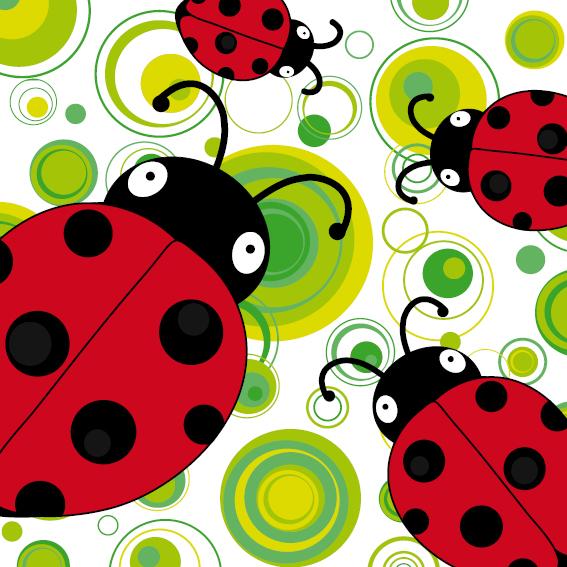Lieveheersbeestje Sophie 4 keer groene cirkels