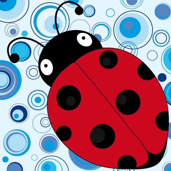 Lieveheersbeestje Sophie blauwe cirkels