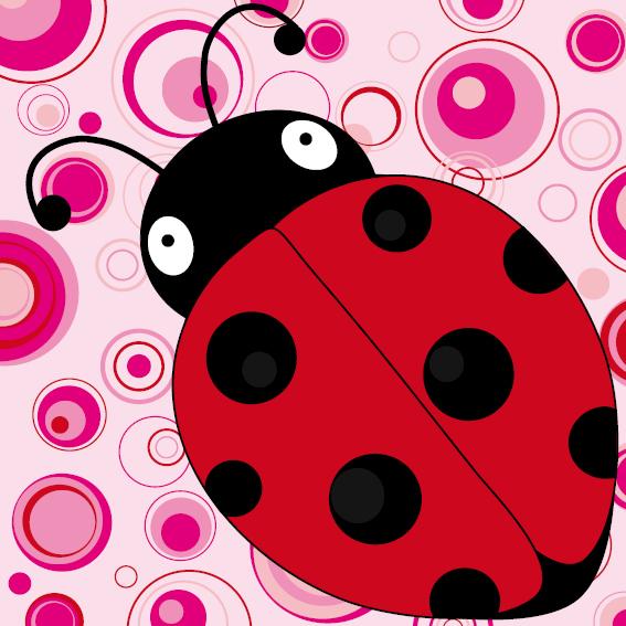 Lieveheersbeestje Sophie roze cirkels