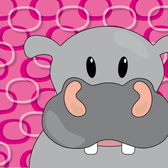 Nijlpaard Benno roze ringen