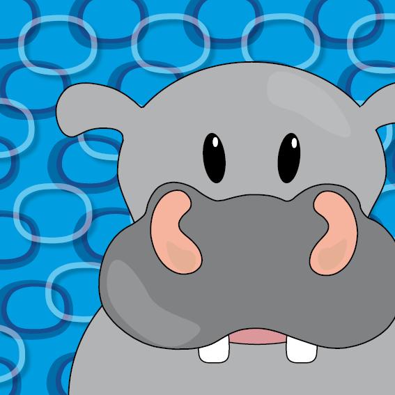 Nijlpaard Benno blauwe ringen