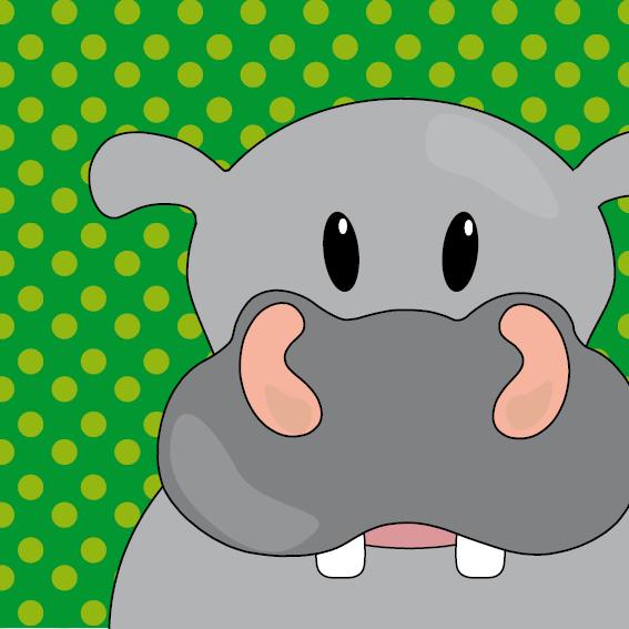 Nijlpaard Benno groene stippen