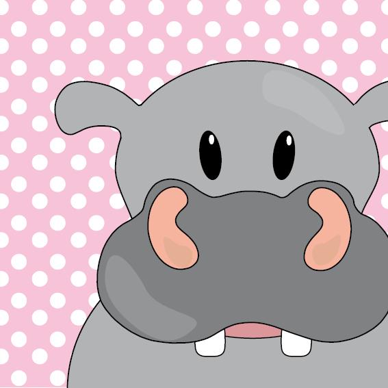 Nijlpaard Benno roze stippen