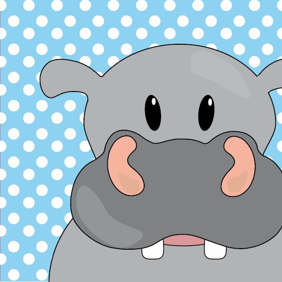 Nijlpaard Benno blauw stippen