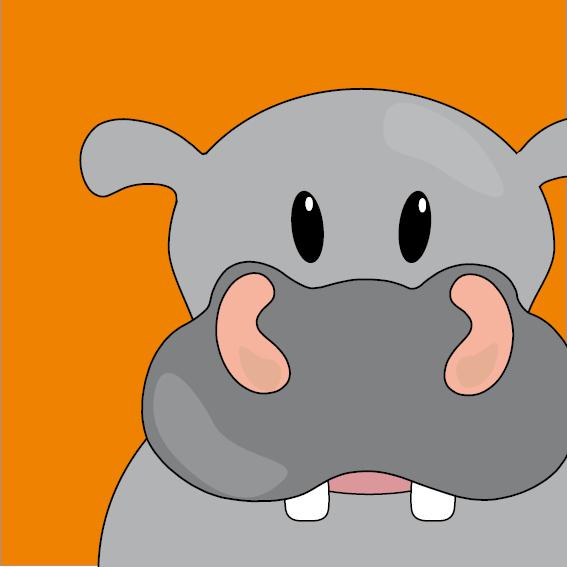 Nijlpaard Benno oranje