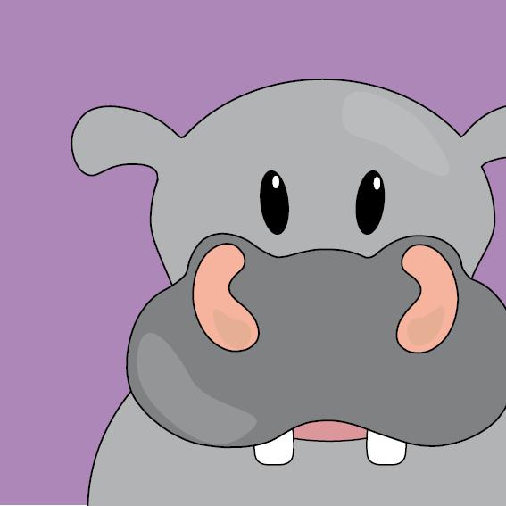 Nijlpaard Benno paars