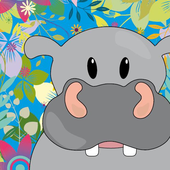 Nijlpaard Benno bloemen blauw