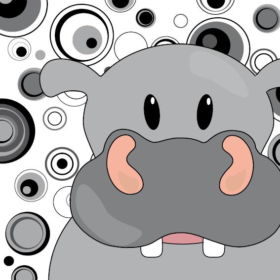 Nijlpaard Benno zwart-wit cirkels