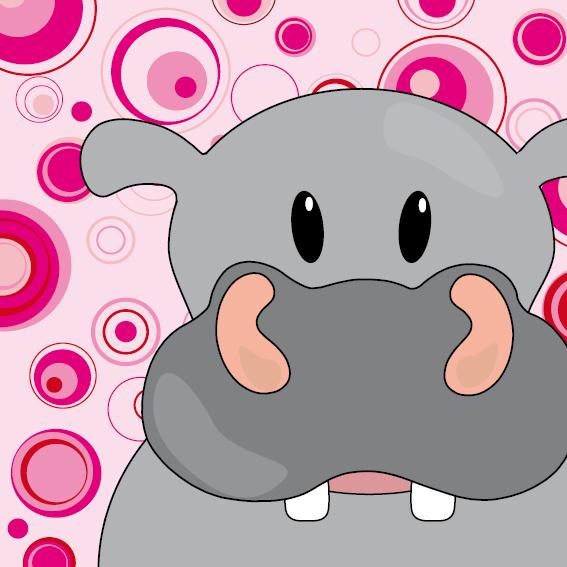 Nijlpaard Benno roze cirkels