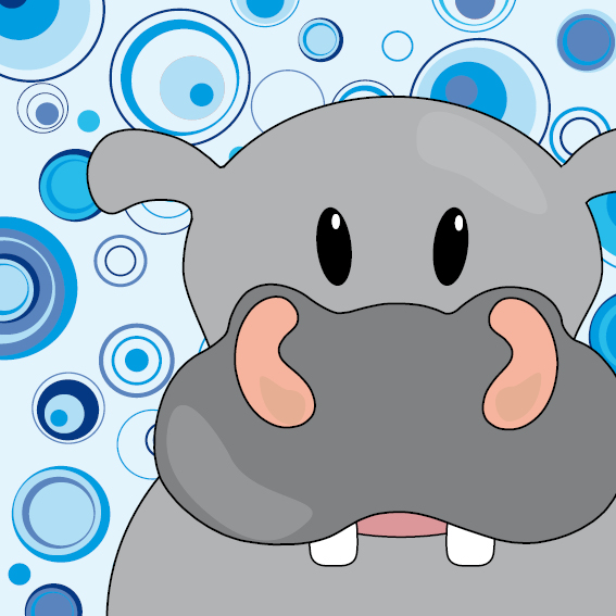 Nijlpaard Benno blauw cirkels