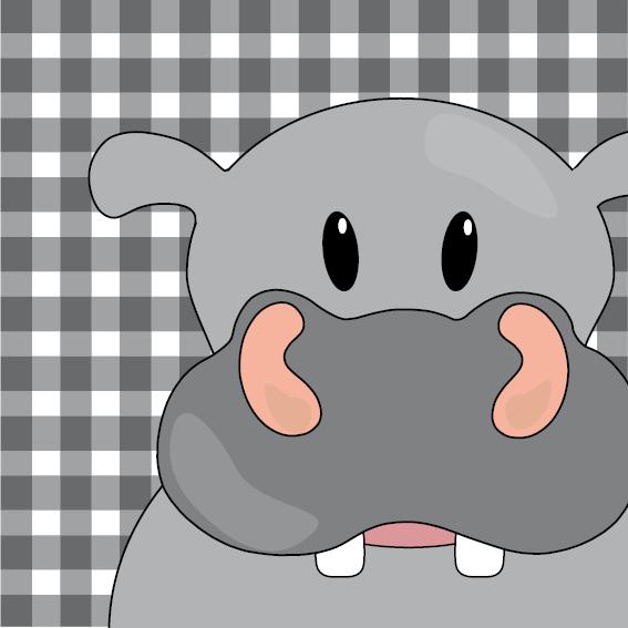 Nijlpaard Benno zwarte ruit