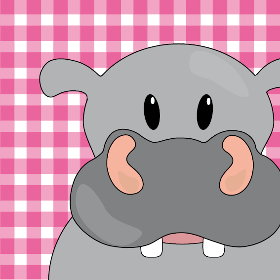 Nijlpaard Benno roze ruit