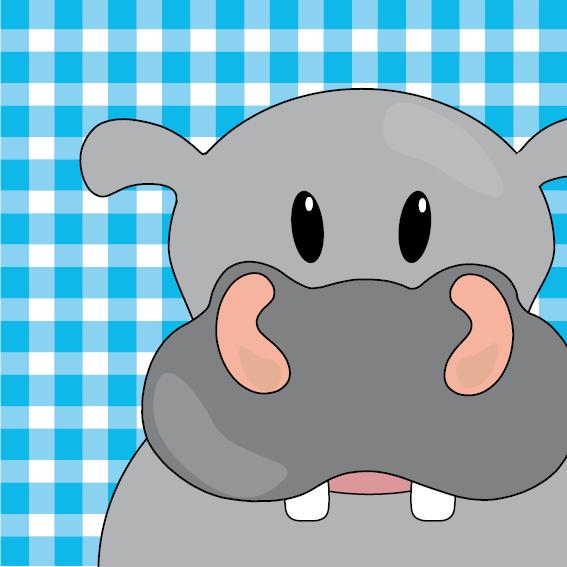 Nijlpaard Benno blauwe ruit