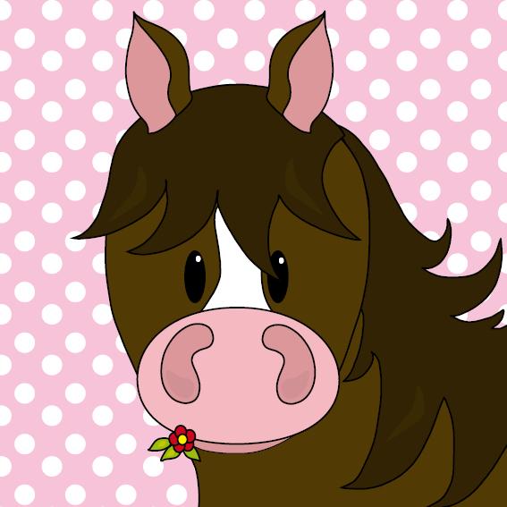 Paard Fleur stippen roze
