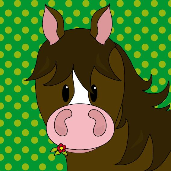 Paard Fleur stippen groen