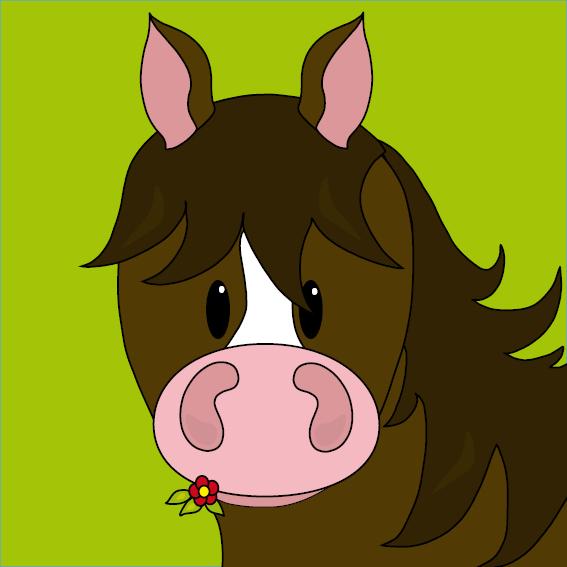 Paard Fleur groen