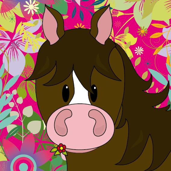 Paard Fleur bloemen roze