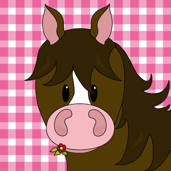 Paard Fleur roze ruit