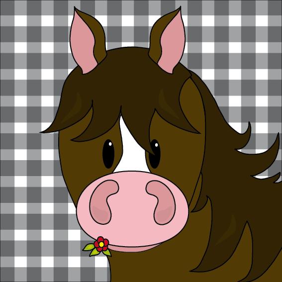 Paard Fleur zwarte ruit