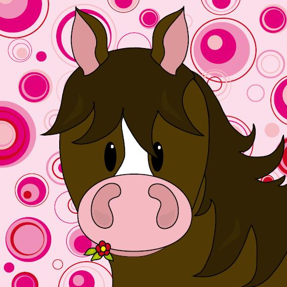 Paard Fleur cirkels roze