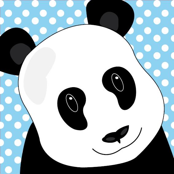 Panda Sam stippen blauw