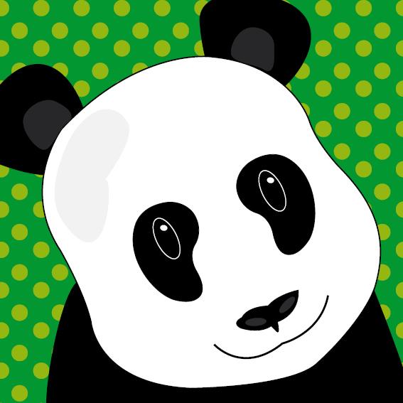 Panda Sam stippen groen