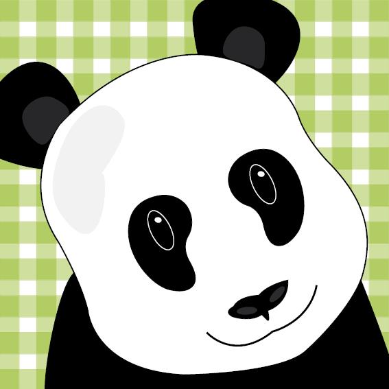 Panda Sam groen ruit