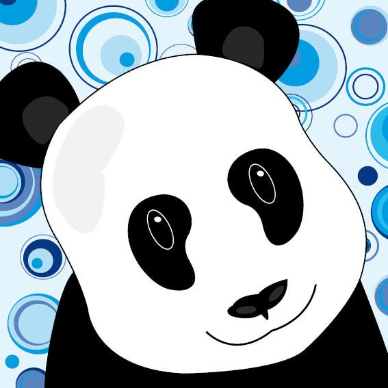 Panda Sam cirkels blauw