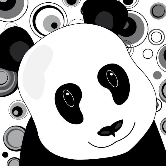 Panda Sam cirkels zwart-wit