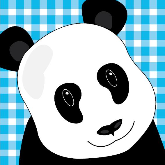 Panda Sam blauwe ruit
