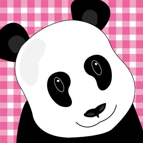 Panda Sam roze ruit