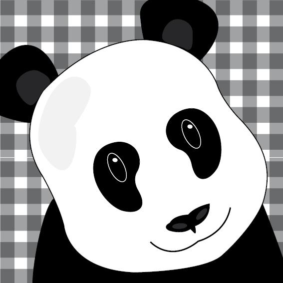 Panda Sam zwarte ruit