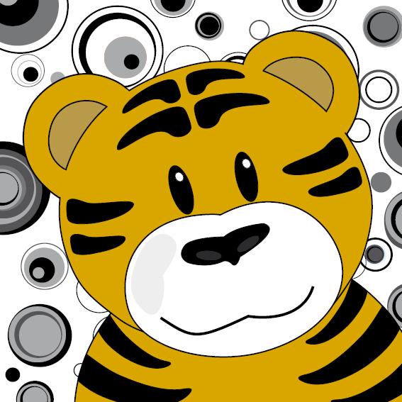 Tijger Thomas zwart-wit cirkels