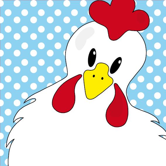 Witte kip Anna stippen blauw