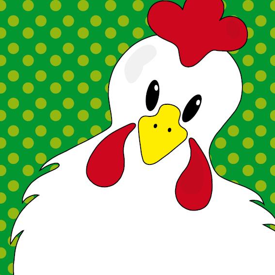 Witte kip Anna stippen groen