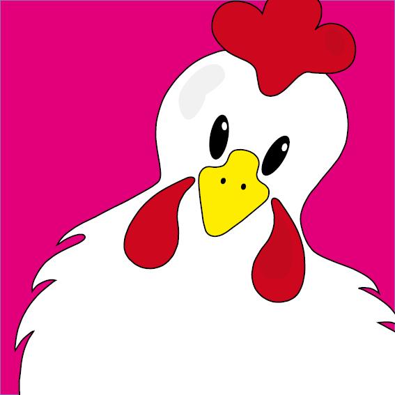 Witte kip Anna roze