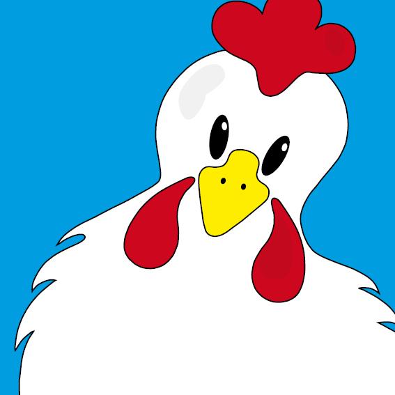 Witte kip Anna blauw