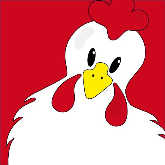 Witte kip Anna rood