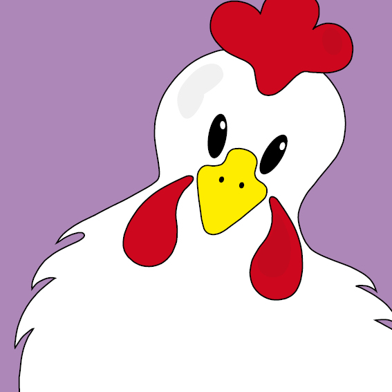 Witte kip Anna paars