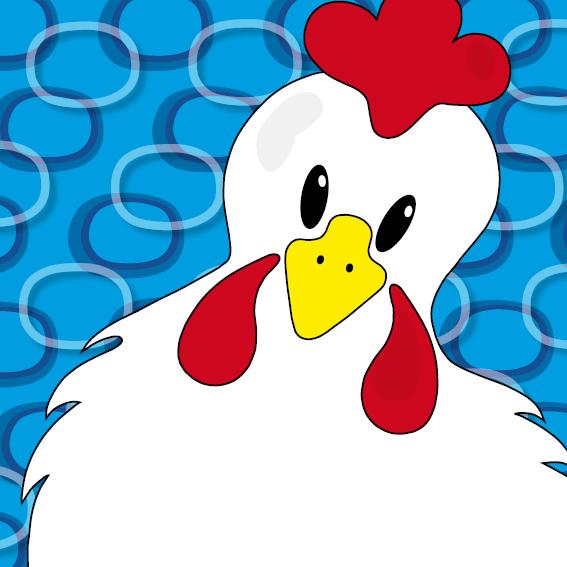 Witte kip Anna blauwe ringen