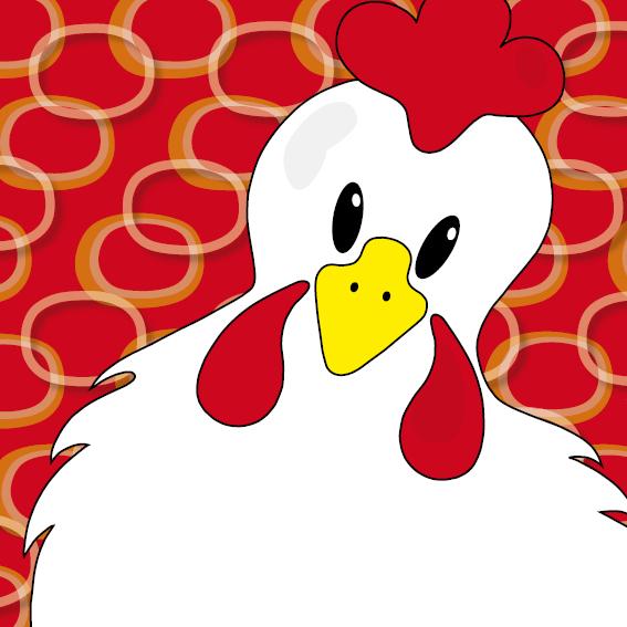 Witte kip Anna rode ringen