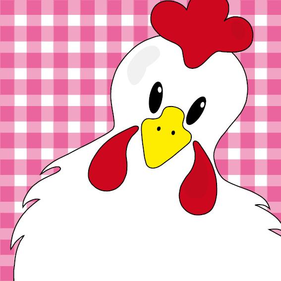 Witte kip Anna roze ruit