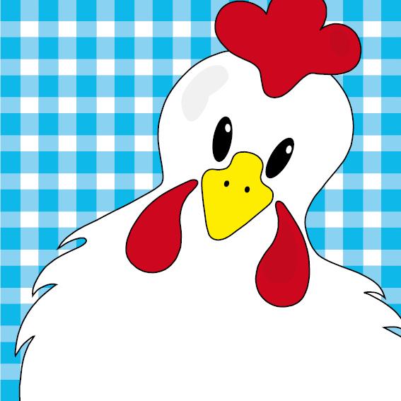Witte kip Anna blauwe ruit