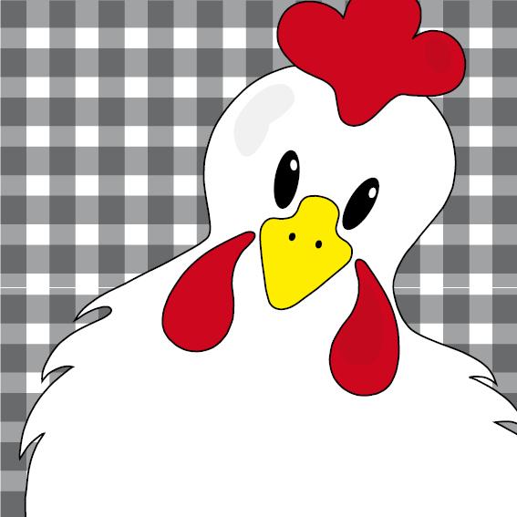 Witte kip Anna zwarte ruit