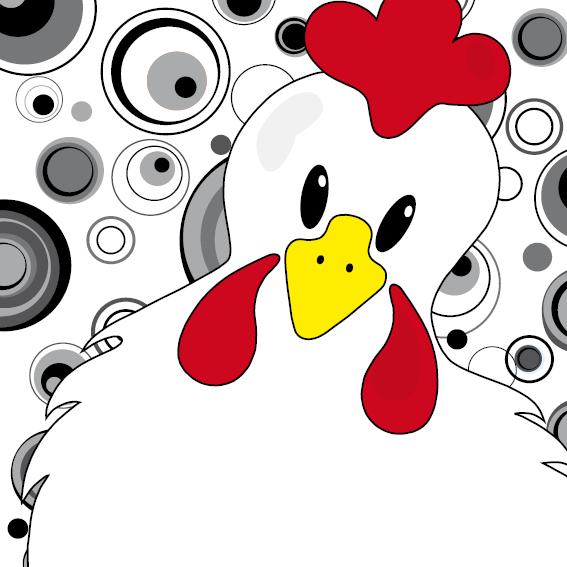Witte kip Anna cirkels zwart-wit