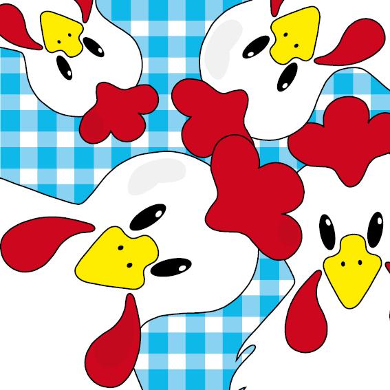 Witte kippen blauwe ruit